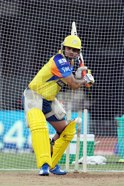 Suresh Raina during a practice session of the Chennai Super Kings and Kings XI Punjab in the the Indian Premier League ( IPL) 2012 held at the M. A. Chidambaram Stadium, Chennai on the 27th April 2012..Photo by Jacques Rossouw/IPL/SPORTZPICS