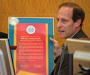 Trustee Greg Meyers presents a proclamation for Asian and Asian-Pacific Americans during the Houston ISD Board of Trustees meeting, May 12, 2016.