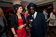 ANGIE FRASER; CECIL REUBEN, HOOTANANNY, London Lifestyle Awards. Riverbank Park Plaza. London.6 October 2011. <br /> <br />  , -DO NOT ARCHIVE-© Copyright Photograph by Dafydd Jones. 248 Clapham Rd. London SW9 0PZ. Tel 0207 820 0771. www.dafjones.com.