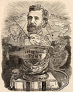 Peter Graham (1836-1921) Scottish painter. Cartoon by Edward Linley Sambourne in the Punch's Fancy Portraits series marking Graham's election as a Royal Academician. Engraving from 'Punch' (London, 16 July 1881).