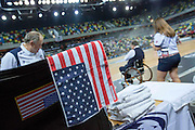 UNITED KINGDOM, London: 2015 World Wheelchair Rugby Challenge. Caption: A picture from Team USA's corner during the World Wheelchair Rugby Championships final against Canada. Rick Findler / Story Picture Agency