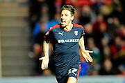 Rotherham United forward Matt Derbyshire celebrates scoring the opening goal to give the visitors a 1-0 lead during the Sky Bet Championship match between Bristol City and Rotherham United at Ashton Gate, Bristol, England on 5 April 2016. Photo by Graham Hunt.