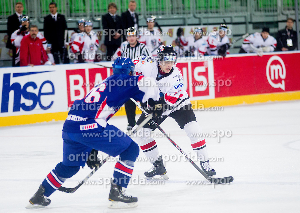 Thomas Hundertpfund of Austria during ice-hockey match between Austria and Great Britain at IIHF World Championship DIV. I Group A Slovenia 2012, on April 16, 2012 in Arena Stozice, Ljubljana, Slovenia. Austria defeated Great Britain 6-3. (Photo by Vid Ponikvar / Sportida.com)