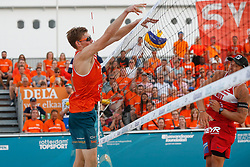 20180716 NED: CEV DELA Beach Volleyball European Championship day 2<br />Jannes van der Ham, Alexander Horst (2) of Austria<br />©2018-FotoHoogendoorn.nl