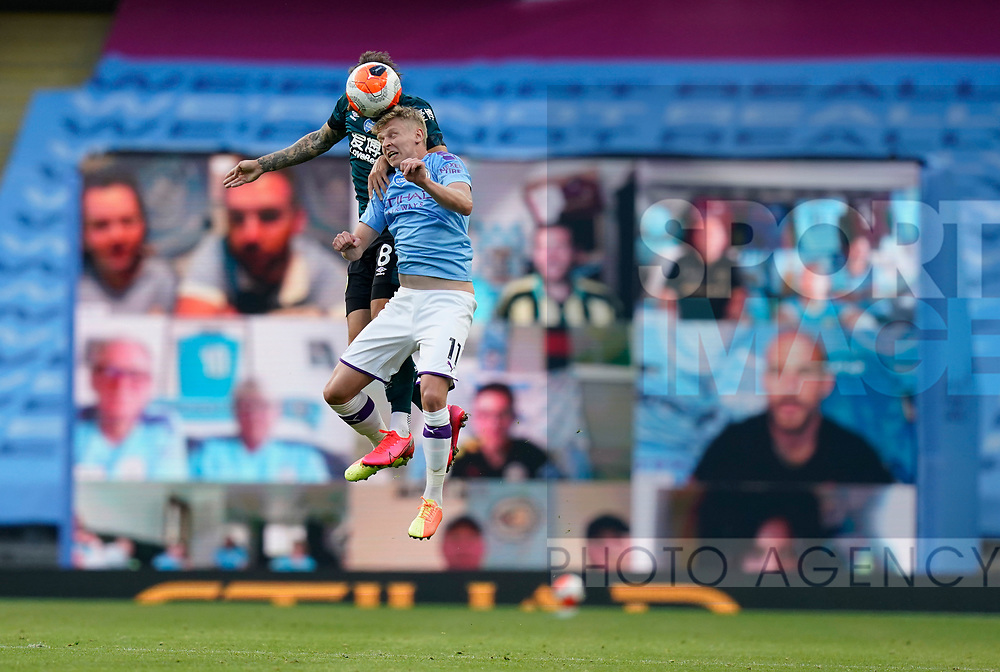 Oleksandr Zinchenko of Manchester City challenged in front of the fans watching on social media during the Premier League match at the Etihad Stadium, Manchester. Picture date: 22nd February 2020. Picture credit should read: Andrew Yates/Sportimage