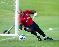 CARDIFF, WALES - Saturday, October 13, 2012: Wales' goalkeeper Jason Brown during a recovery training session ahead of the Brazil 2014 FIFA World Cup Qualifying Group A match against Croatia at the Vale of Glamorgan Hotel. (Pic by David Rawcliffe/Propaganda)