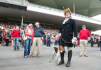 05/08/2012  James Tonery and his dog  at the final day of the Galway Races Summer festival for the mad Hatters competition . Photo: