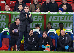 LONDON, ENGLAND - Saturday, February 14, 2015: Liverpool's manager Brendan Rodgers during the FA Cup 5th Round match against Crystal Palace at Selhurst Park. (Pic by David Rawcliffe/Propaganda)