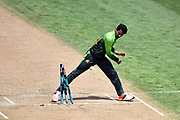 Pakistan's Aamer Yamin hurls the ball in frustration after missing a runout opportunity of Blackcaps batsman Colin de Grandhomme off the last ball during the Fifth One-Day game between Black Caps v Pakistan, Basin Reserve, Wellington, Friday 19th Janurary 2018. Copyright Photo: Raghavan Venugopal / © www.Photosport.nz 2018