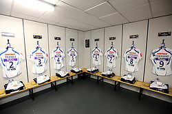A general view of the Exeter Chiefs changing room at the Ricoh Arena ahead of the Gallagher Premiership game against Wasps - Mandatory by-line: Robbie Stephenson/JMP - 08/09/2018 - RUGBY - Ricoh Arena - Coventry, England - Wasps v Exeter Chiefs - Gallagher Premiership