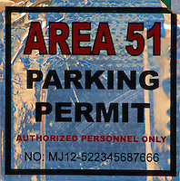 Area 51 Parking Permit. Image taken with a Nikon D300 and 80-400 mm VR lens (ISO 200, 300 mm, f/8, 1/500 sec).