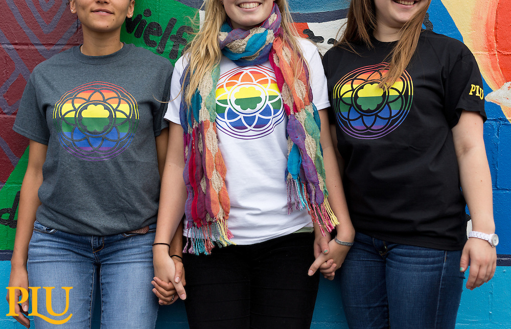 Rainbow Rose Window tee-shirts found at Garfield Book Store at PLU on Thursday, Sept. 17, 2015. (Photo: John Froschauer/PLU)