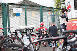 Claudia Lichtenberg (GER) of Lotto Soudal Cycling Team receives a quick pre-race rub before the first, 106.9km road race stage of Elsy Jacobs - a stage race in Luxembourg, in Steinfort on April 30, 2016