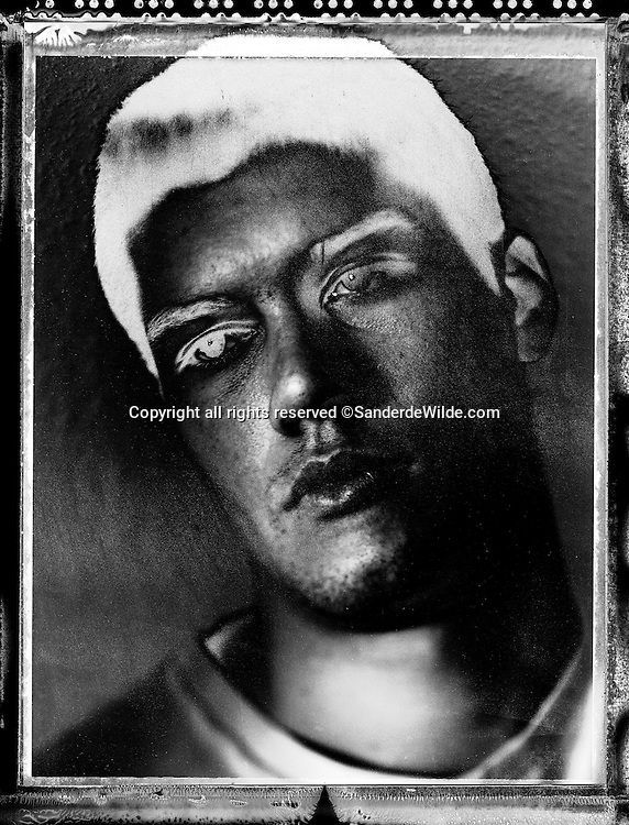 Solarized 4x5' black and white portrait on polaroid 45 film