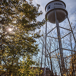 Photo of Frankfort Illinois water tower. Frankfort is a Southwestern Chicago suburb along the Plank Road Trail.