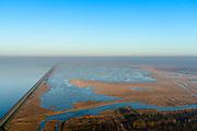Nederland, Flevoland, Almere, 14-02-2017; Oostvaardersdijk en Oostvaardersplassen, gezien vanuit Almere, links IJsselmeer. In de voorgrond Grote Plas.<br /> Nature reserve Oostvaardersplassen.<br /> <br /> luchtfoto (toeslag op standaard tarieven);<br /> aerial photo (additional fee required);<br /> copyright foto/photo Siebe Swart