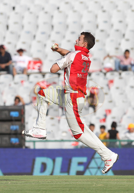 Ryan Mclaren of the Kings XI Punjab in delivery stride during match 9 of the Indian Premier League ( IPL ) Season 4 between the Kings XI Punjab and the Chennai Super Kings held at the PCA stadium in Mohali, Chandigarh, India on the 13th April 2011..Photo by Shaun Roy/BCCI/SPORTZPICS