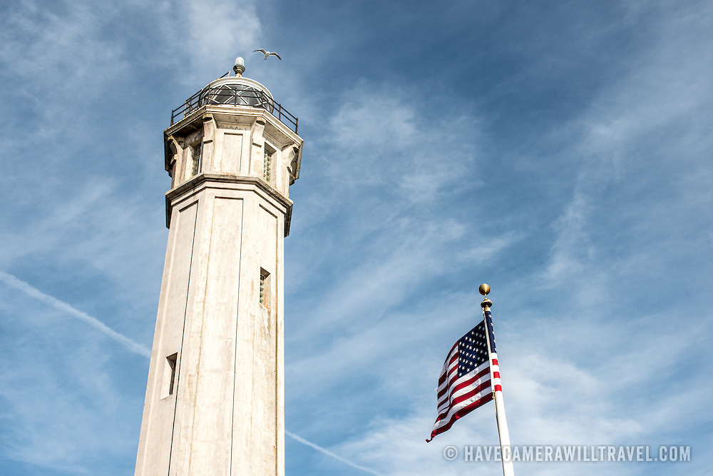The lighthouse on Alcatraz Island in San Francisco Bay, California.
