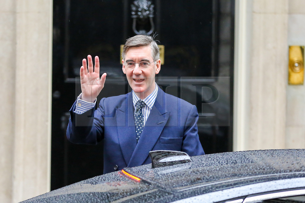 © Licensed to London News Pictures. 21/10/2019. London, UK. Leader of The House of Commons JACOB REES-MOGG waves to the media as he departs from No 10 Downing Street. Photo credit: Dinendra Haria/LNP