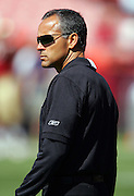 SAN FRANCISCO - SEPTEMBER 17:  Head Coach Mike Nolan of the San Francisco 49ers surveys the field at the game against the St. Louis Rams at Monster Park on September 17, 2006 in San Francisco, California. The Niners defeated the Rams 20-13. ©Paul Anthony Spinelli *** Local Caption *** Mike Nolan