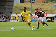 AFC Wimbledon striker Andy Barcham (17) breaks forward during the EFL Sky Bet League 1 match between Northampton Town and AFC Wimbledon at Sixfields Stadium, Northampton, England on 20 August 2016. Photo by Stuart Butcher.