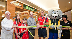 Official opening of Sheffield's new Harvester Salad & Grill at Meadowhall..Left to right Chef Neil Leech, Sheffield Hockey Club Juniors Jemima Board adn Callum Groege,  Harvester Manager Dan Fox, England A team and Sheffield Hockey Clubs Martin Ebbage, Harvey The Rabbit and Harvester staff Laura Goodall  ..10 November 2011. Image © Paul David Drabble