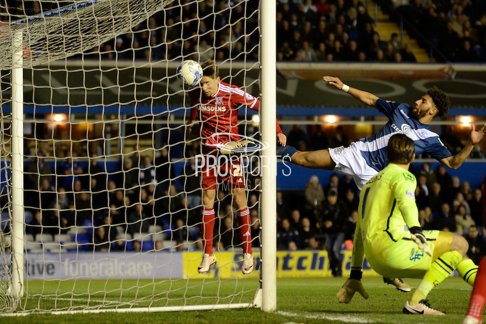 Middlesbrough midfielder Gaston Ramirez heads home the second goal during the Sky Bet Championship match between Birmingham City and Middlesbrough at St Andrews, Birmingham, England on 29 April 2016. Photo by Alan Franklin.