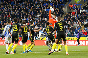 David Raya of Brentford comes for a corner during the EFL Sky Bet Championship match between Huddersfield Town and Brentford at the John Smiths Stadium, Huddersfield, England on 18 January 2020.