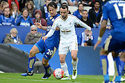 Swansea City midfielder Leon Britton and Leicester City forward Shinji Okazaki battle for the ball during the Barclays Premier League match between Leicester City and Swansea City at the King Power Stadium, Leicester, England on 24 April 2016. Photo by Alan Franklin.