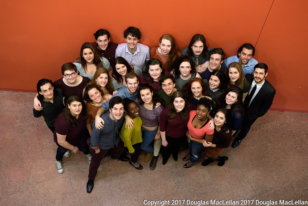 CANADA, Windsor. March 2017. Group photo of this year's second and third year BFA students posing for next year's brochure.