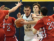 NEW HOPE, PA. - JANUARY 23:New Hope Solebury's Spencer Tinkel #20 fights for a rebound in the first quarter at New Hope Solebury High School January 23, 2015 in New Hope, Pennsylvania. Tinkel scored his 1,000 career point early in the quarter. (Photo by William Thomas Cain/Cain Images)