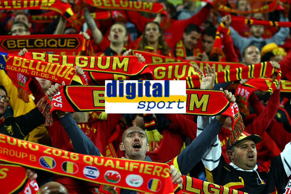 Fans of Belgium celebrates at the end of the UEFA European Championship 2016 qualifying Group B football match between Andorra and Belgium on October 10, 2015 at The Estadi Nacional in Andorra la Vella, Andorra. <br /> Photo Manuel Blondeau/AOP Press/DPPI