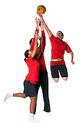 Fire service sports wear on 3 models all jumping for basketball