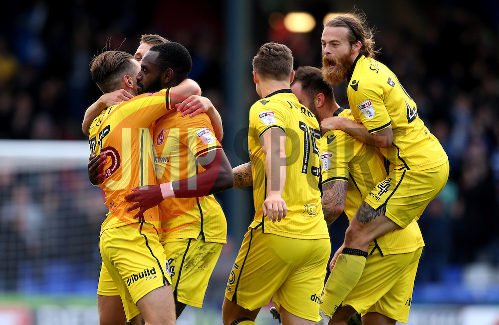 Charlie Colkett of Bristol Rovers celebrates with teammates after scoring a goal to make it 1-0 against Oldham Athletic - Mandatory by-line: Robbie Stephenson/JMP - 22/10/2016 - FOOTBALL - Sportsdirect.com Park - Oldham, England - Oldham Athletic v Bristol Rovers - Sky Bet League One
