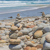 Cobblestone rock stacks, Spanish Bay, California coast.