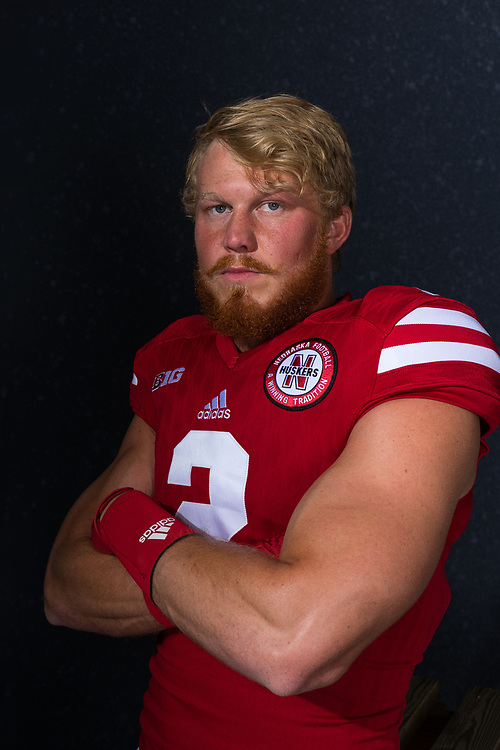 Zack Darlington #2 during a portrait session at Memorial Stadium in Lincoln, Neb. on June 7, 2017. Photo by Paul Bellinger, Hail Varsity