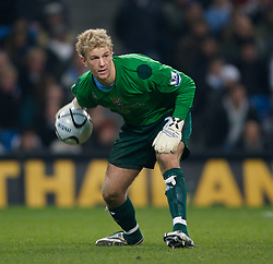 MANCHESTER, ENGLAND - Tuesday, December 18, 2007: Manchester City's goalkeeper Joe Hart in action against Tottenham Hotspur during the League Cup Quarter Final match at the City of Manchester Stadium. (Photo by David Rawcliffe/Propaganda)