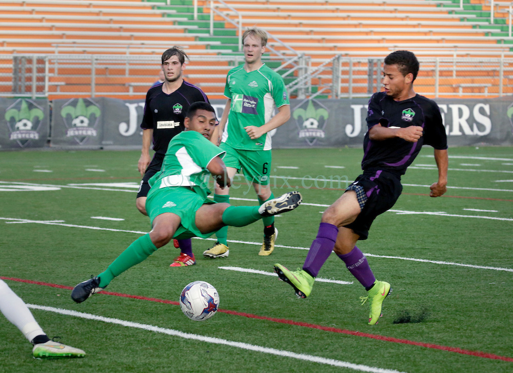 13 June 2015. New Orleans, Louisiana.<br /> National Premier Soccer League. NPSL. <br /> The New Orleans Jesters play against Texas' Premier Soccer League&rsquo;s (TPSL) runner-up, Houston Hurricanes at home in the Pan American Stadium. Jesters take a 3-1 victory at the final whistle. <br /> Photo; Charlie Varley/varleypix.com