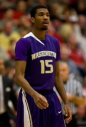 February 13, 2010; Stanford, CA, USA;  Washington Huskies guard Scott Suggs (15) during the first half against the Stanford Cardinal at Maples Pavilion. Washington defeated Stanford 78-61.