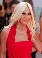 Designer Donatella Versace at the premiere gala screening of the film A Star is Born at the 75th Venice Film Festival, Sala Grande on Friday 31st August 2018, Venice Lido, Italy.