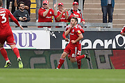 Accrington Stanley midfielder Sam Finley celebrates a goal during the EFL Sky Bet League 1 match between Bristol Rovers and Accrington Stanley at the Memorial Stadium, Bristol, England on 7 September 2019.