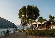 ITALY, Franciacorta area, sunset along the lake promenade at Iseo
