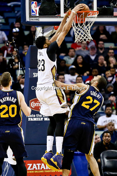 Feb 10, 2016; New Orleans, LA, USA; New Orleans Pelicans forward Anthony Davis (23) dunks against the Utah Jazz during the second half of a game at the Smoothie King Center. The Pelicans defeated the Jazz 100-96. Mandatory Credit: Derick E. Hingle-USA TODAY Sports