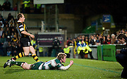 Wycombe, GREAT BRITAIN,   Tigers', Sam VESTY sliding in the score  first half try, during the Guinness Premiership rugby game, London Wasps vs Leicester Tigers at Adam's Park Stadium, Bucks, England, on Sun 15.02.2009. [Photo, Peter Spurrier/Intersport-images]