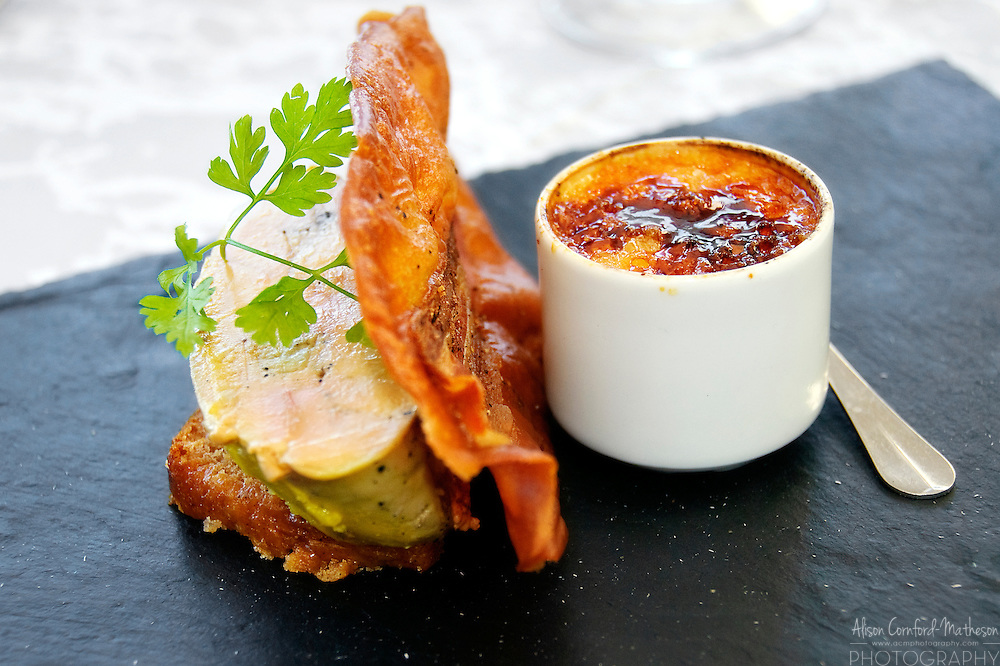 Foie gras with crispy bacon and crème brûlée