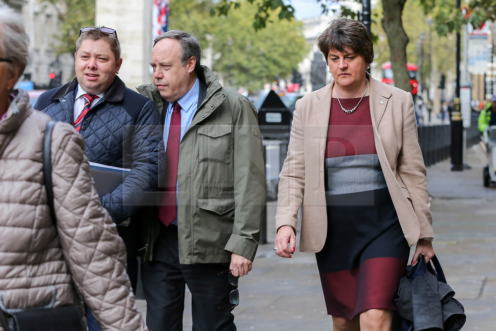 © Licensed to London News Pictures. 16/10/2019. London, UK. © Licensed to London News Pictures. 16/10/2019. London, UK. Deputy leader of the Democratic Unionist Party (DUP) NIGEL DODDS (C) and leader of the Democratic Unionist Party (DUP) ARLENE FOSTER leaves Cabinet Office after a meeting with the Prime Minister BORIS JOHNSON. Photo credit: Dinendra Haria/LNPPhoto credit: Dinendra Haria/LNP