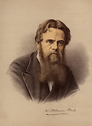 William Holman Hunt (1827-1910) British painter and one of the founders of the Pre-Raphaelite Brotherhood (1848). Appointed to the Order of Merit (1905). From 'The Modern Portrait Gallery' (London, c1880). Tinted lithograph.