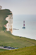 Beachy Head and lighthouse. Britain's highest chalk sea-cliff, 162 metres (531 ft) above sea level near to Eastbourne on the Sussex coast, overlooking the English Channel. The chalk was formed in the Late Cretaceous epoch, between 66 and 100 million years ago, when the area was under the sea.
