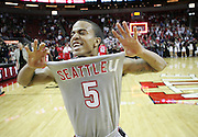 Seattle University guard Cervante Burrell celebrates after scoring the game-winning shot with just seconds left on the clock Thursday Nov. 19, 2009, to lift the Redhawks over the Fresno State Bulldogs in 85-84 final at Key Arena in Seattle, Wash.