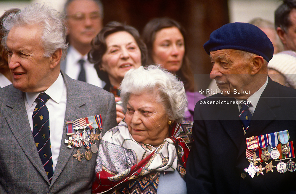 Czech war veterans gather at Brookwood cemetery when their president of the day, the once political dissident Vaclav Havel paid his respects to those nationals who paid the ultimate price during the second world war. The elderly heroes wearing medals and awards from their service during the 20th century war line up before their new president appears during his state visit to the UK.